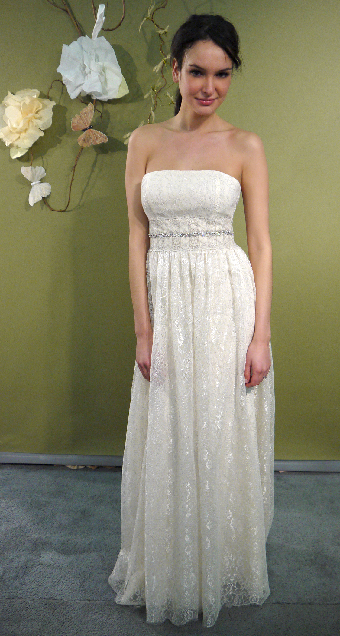 Ivory strapless column wedding dress with beaded bridal