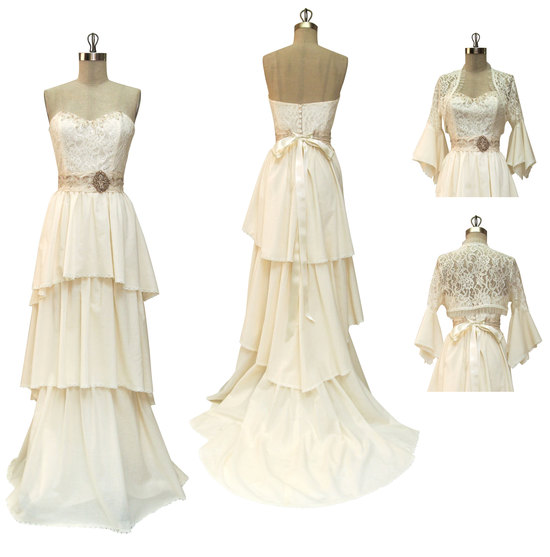 Vintage-inspired ivory bridal gown with antique bridal belt and romantic tiered layers by Claire Pet
