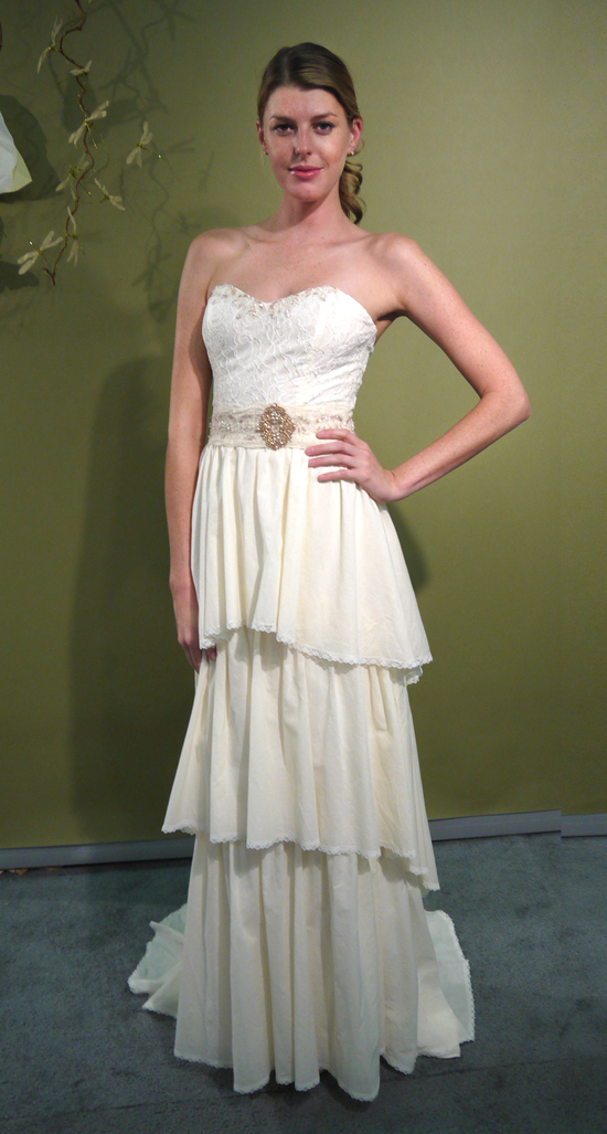Romantic sweetheart neckline ivory column wedding dress with vintage chic bridal belt by Claire Pett