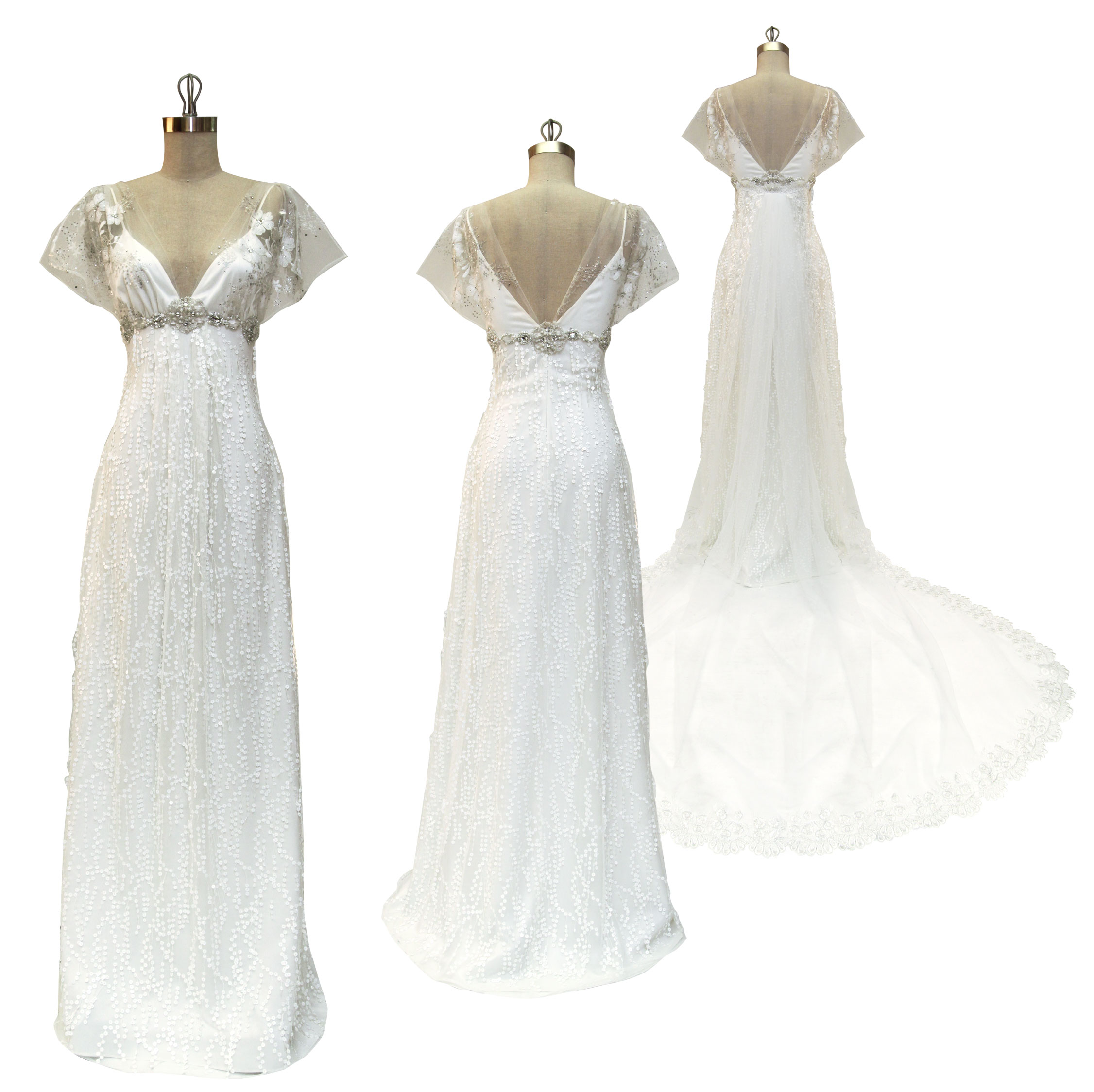 White v neck empire wedding dress with beaded sash below