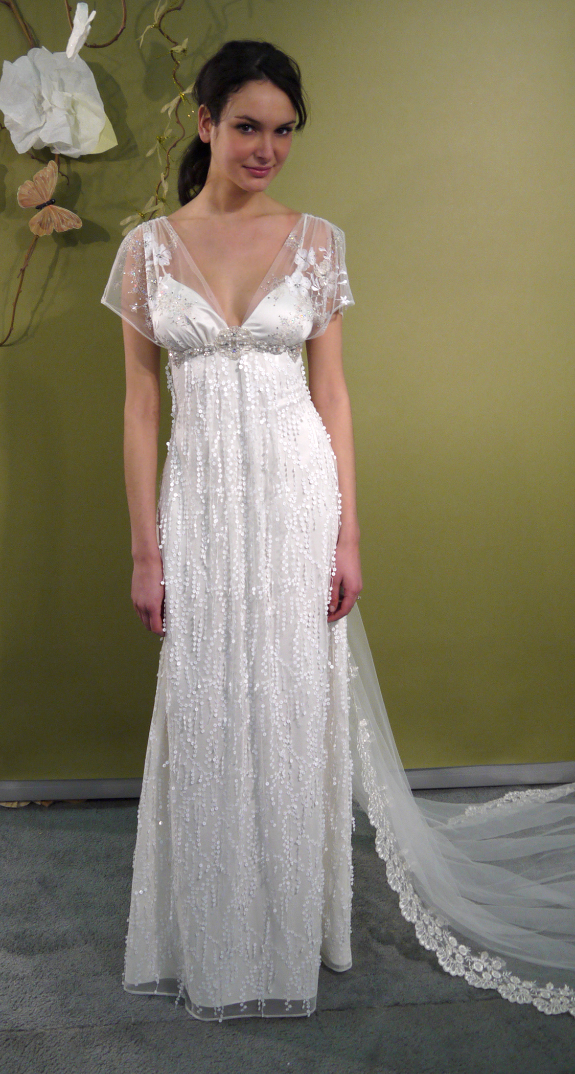 Ivory empire v neck wedding dress with sheer sleeves and for Wedding dress claire pettibone