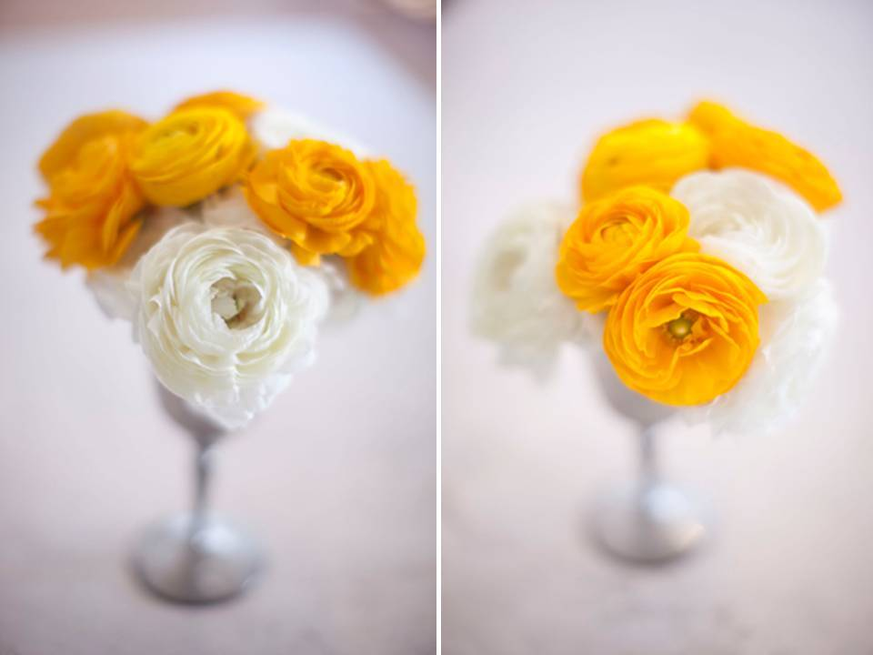 Simple And Chic Yellow White Bridal Bouquet Of Ranunculus For Summer Weddings
