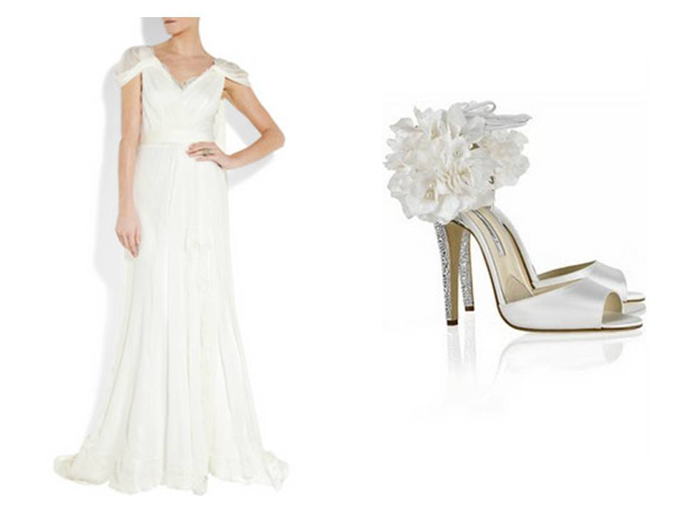 Simple White A Line Wedding Dress With Lovely Cap Sleeves And