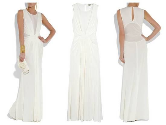 Chic white high-neck column wedding dress with sheer neckline and keyhole back