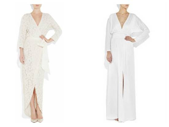 V-neck wrap wedding dresses for beach or destination wedding by Halston