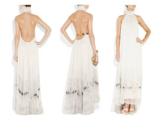 Beach bride white sheath Alexander McQueen high neck wedding dress for destination wedding or boho b