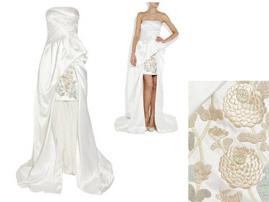Alexander McQueen white strapless mini wedding reception dress with romantic beading and detachable