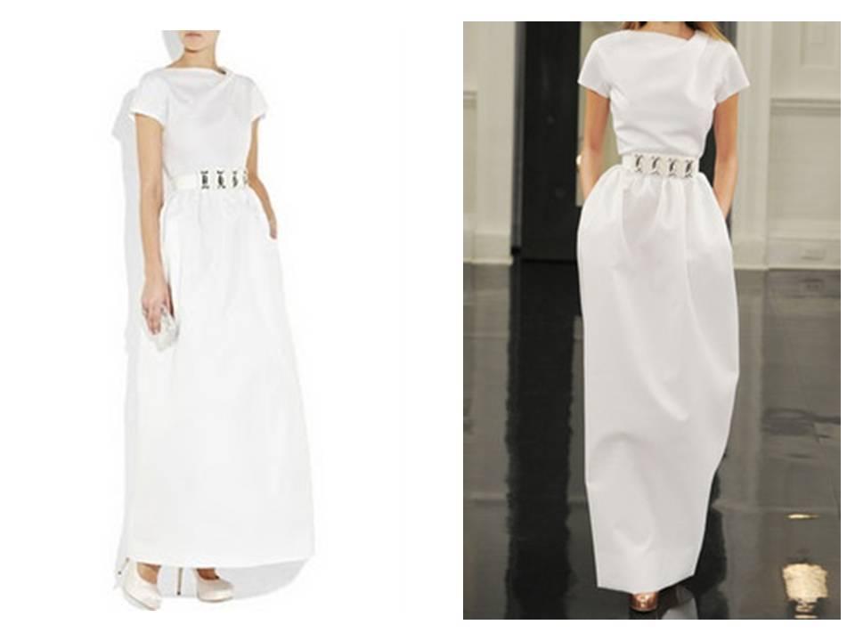 White-casual-wedding-dress-bateau-neck-silver-bridal-belt.full