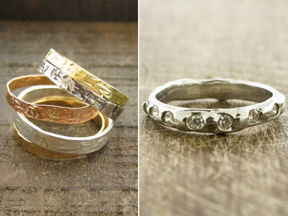recycled yellow gold handcrafted into unique eco friendly wedding bands and engagement ring - Eco Friendly Wedding Rings