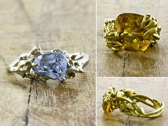 Recycled gold non-diamond engagement ring and recycled yellow gold, yellow diamond engagement ring