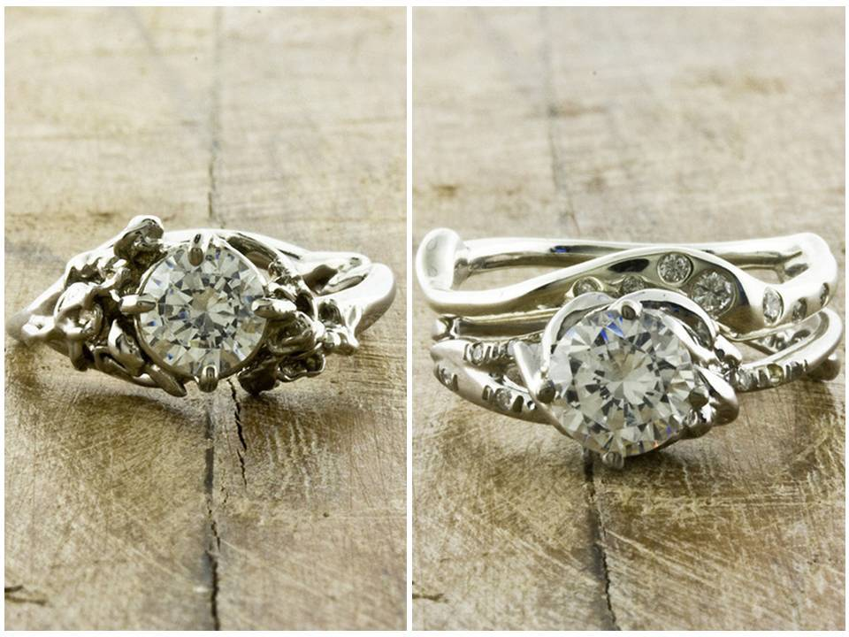 diamond engagement rings with organic recycled white gold settings