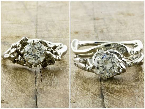 Ethical diamond engagement rings with organic recycled white gold settings