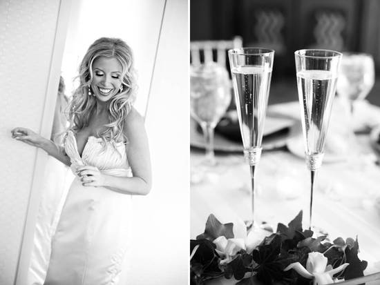 Beautiful bride poses in romantic ivory lace wedding dress; champagne toasting flutes at wedding rec
