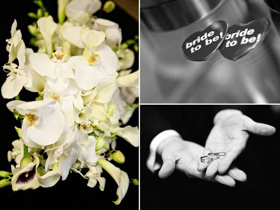 Cascading bridal bouquet of ivory orchids, groom holds wedding bands in open hands