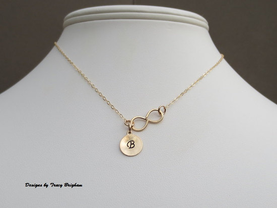 14k Gold filled Personalized Infinity Necklace with Initial