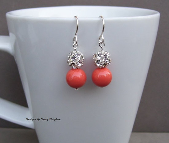 Swarovski Coral Pearls and Rhinestone Bridal Earrings