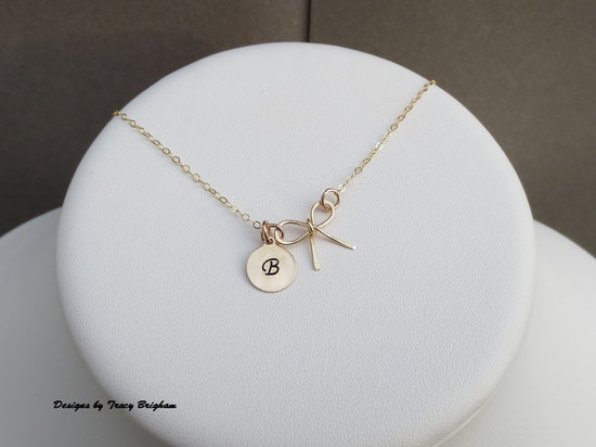 14k gold filled personalized bow necklace with initial disc