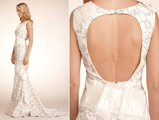 Chic Elizabeth Fillmore modified mermaid wedding dress with open keyhole back