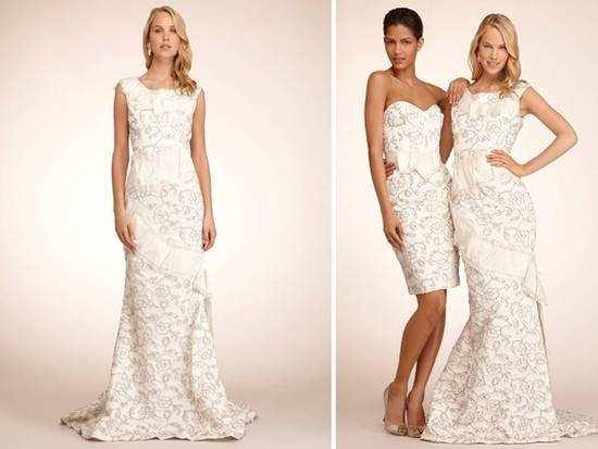 Chic ivory bateau neck modified mermaid wedding dress and matching wedding reception frock with silv