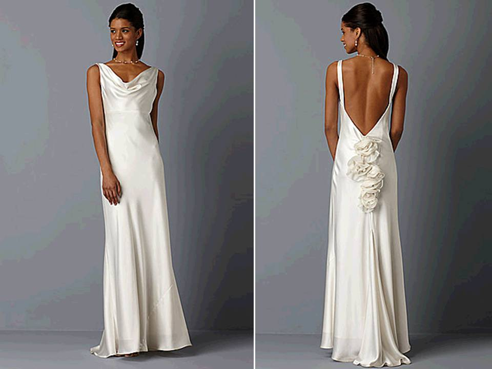 Ivory silk cowl neck wedding dress with open back for Wedding dress like pippa middleton