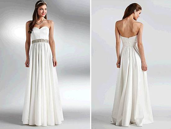 Classic ivory sweetheart neckline modified a-line wedding dress with beaded bridal belt, inspired by