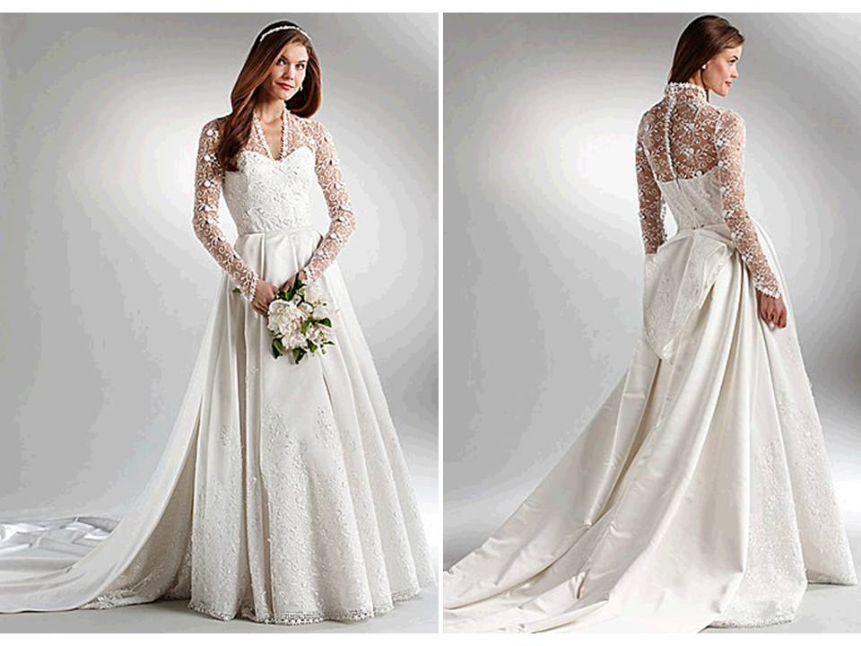 Ivory ball gown wedding dress with long lace sleeves for Ivory lace wedding dress with sleeves