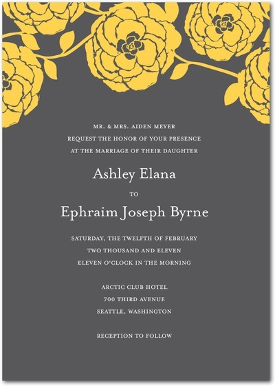 Dark charcoal grey wedding invitation with gorgeous marigold yellow ranunculus design