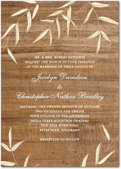 Vintage-inspired wood wedding invitation for rustic chic Spring or Summer wedding