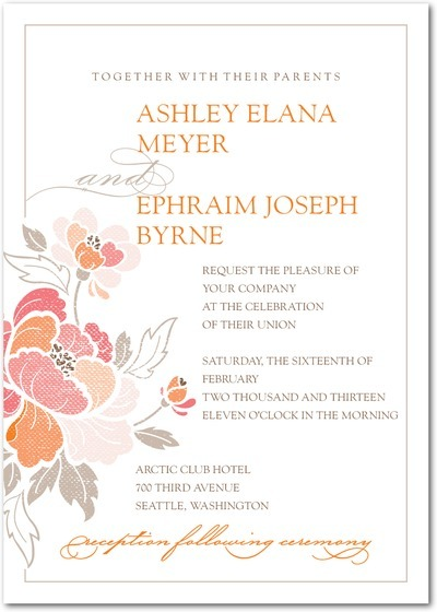 ROmantic white wedding invitation with peach, coral and dove grey floral design