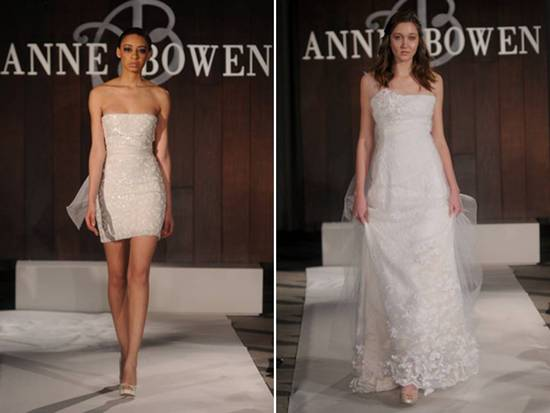 Strapless beaded mini wedding reception dress and classic a-line bridal gown, Spring 2012