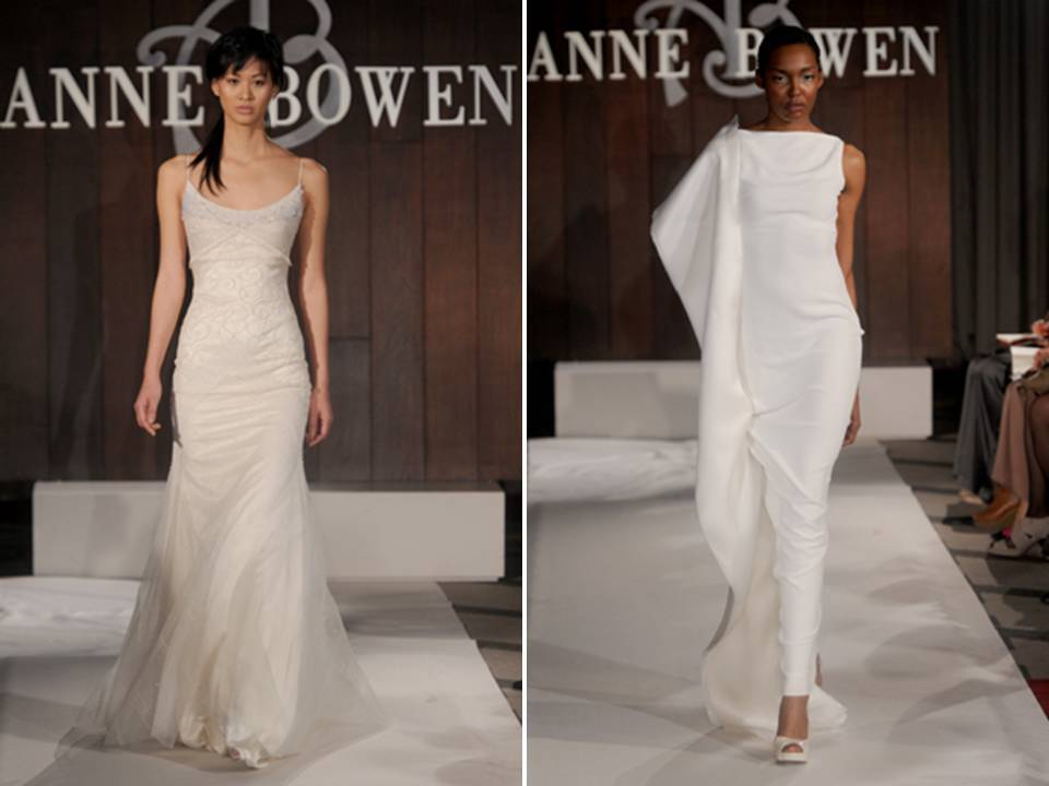 Modern White Column Wedding Dress And Ivory Scoop Neck Modified Mermaid From Anne Bowen S