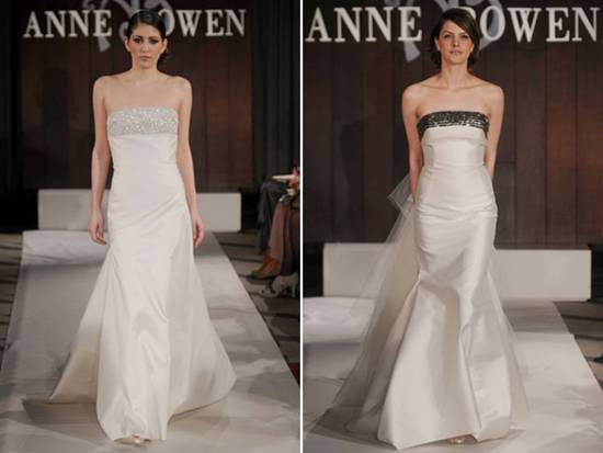 Ivory silk shantung modified mermaid strapless wedding dresses with embellished necklines from Anne
