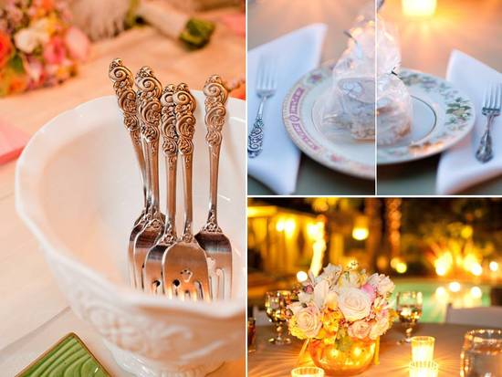 Chic outdoor wedding reception in Las Vegas with soft wedding color palette and vintage-inspired det