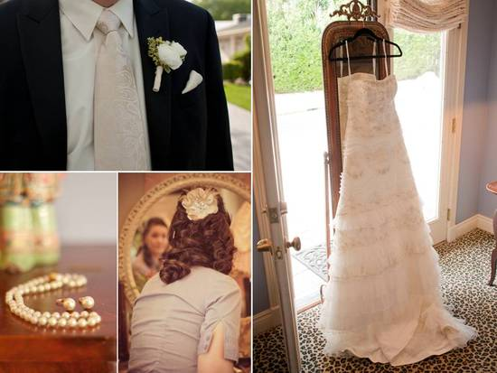 Ivory vintage-inspired wedding dress, classic bridal pearls, traditional black groom's tux