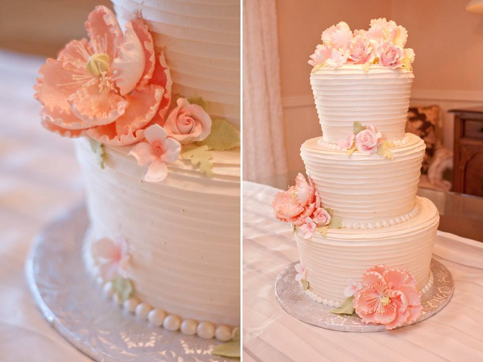 Romantic White And Peach Wedding Cake With Pearl Accents And Peach Peony Sugar  Flowers