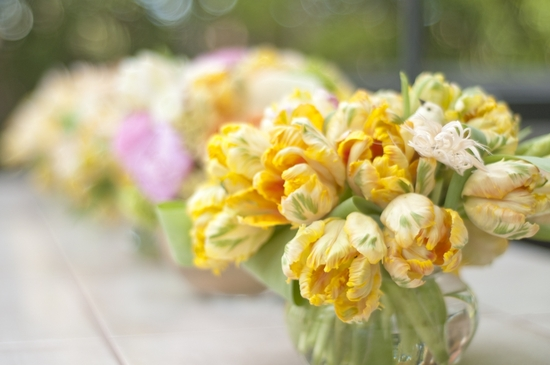 Spring wedding in Las Vegas- bright yellow peony wedding flower centerpieces