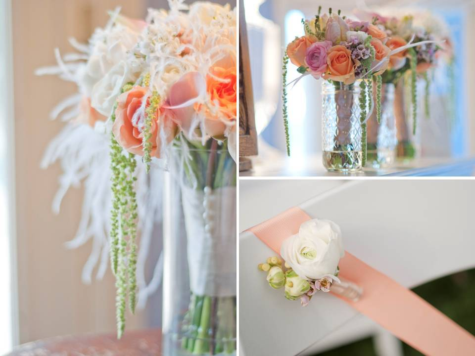 Romantic wedding flowers, centerpieces and bridal bouquet- peach, blush pink and ivory wedding flowe