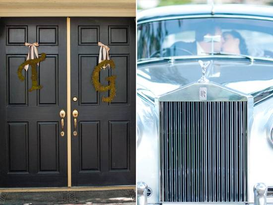 Custom monogram wedding signs hang on ceremony door, vintage Rolls Royce wedding day ride
