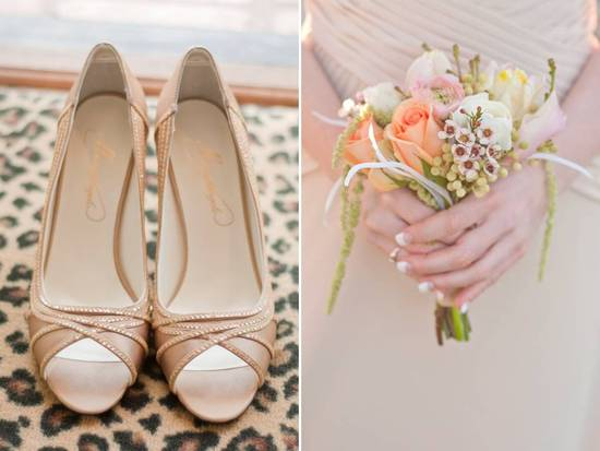 Chic peep-toe champagne bridal heels and a romantic peach pastel bridesmaid bouquet