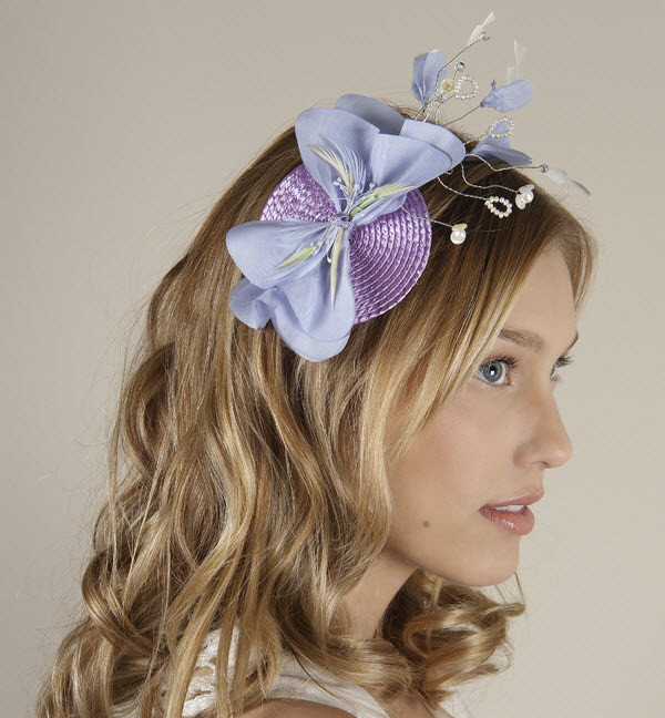 Spring Wedding Chic Pastel Blue And Purple Guest Fascinator