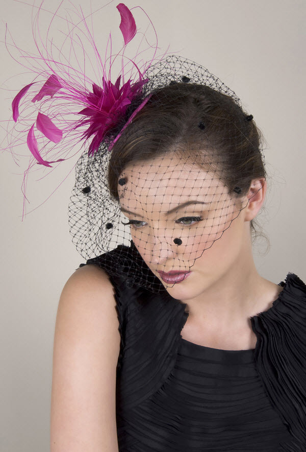 Black and magenta royal wedding-inspired wedding guest fascinator