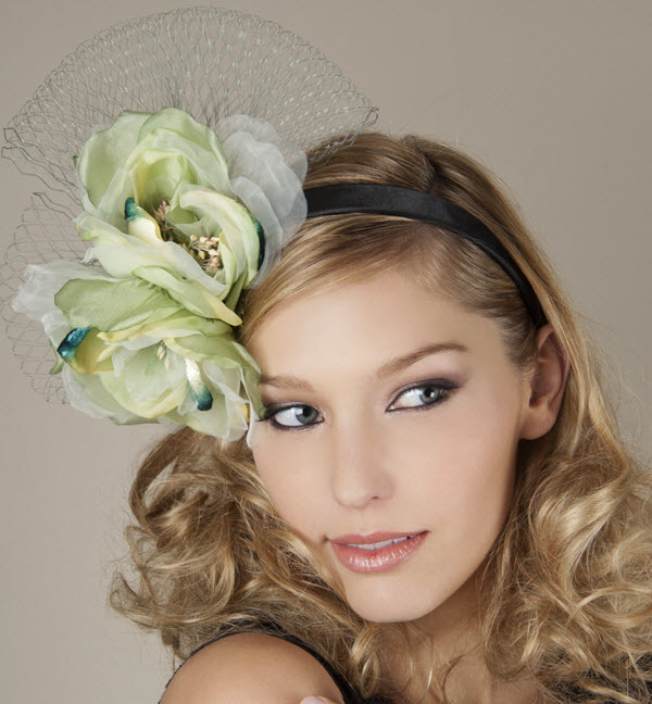 Garden chic bridal style- wedding headband with pastel green and blue flower cluster and French net