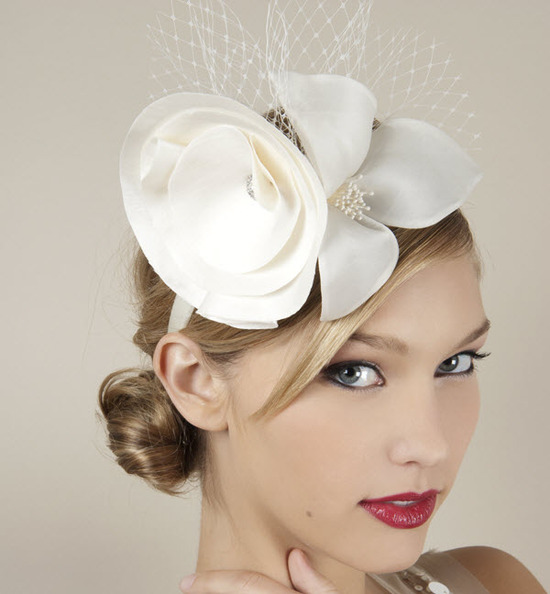 Parisian chic ivory bridal headband with satin flower and french net veil inspired by the royal wedd