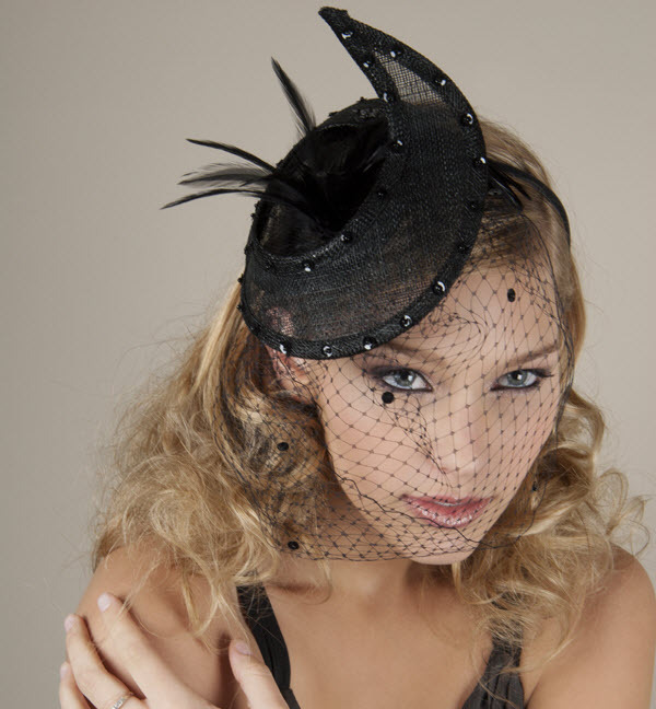 Dramatic black crescent hat, wedding guest accessories, with French net and feathers