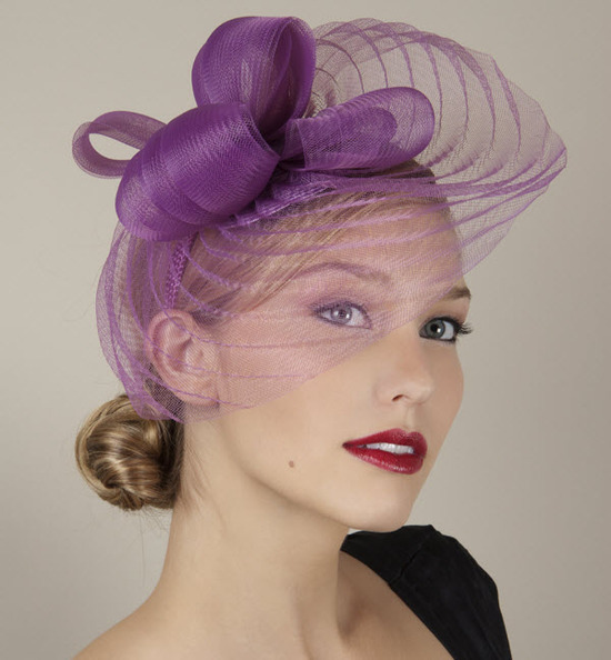 Gorgeous purple wedding guest hat with pleated veil headpiece