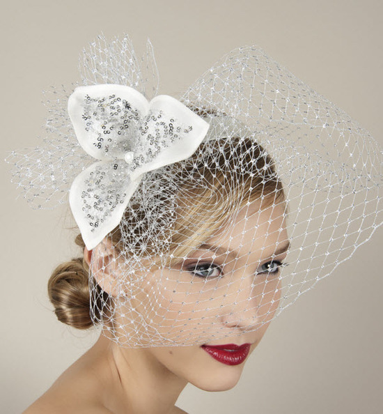 Glamourous bridal blusher and headband with rhinestone-encrusted flower
