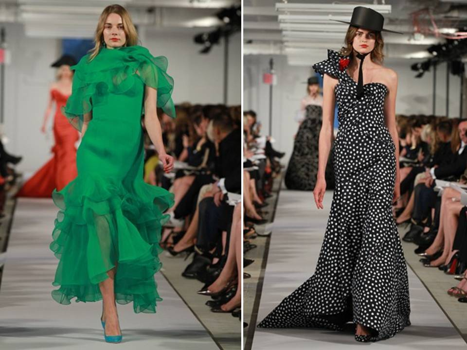 Emerald-green-black-white-polka-dot-wedding-color-palette-oscar-de-la-renta-2012-dresses-strapless-mermaid-ruffles.full