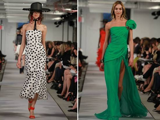 Emerald green with black and white polka dots- a chic wedding color palette inspired by Oscar de la