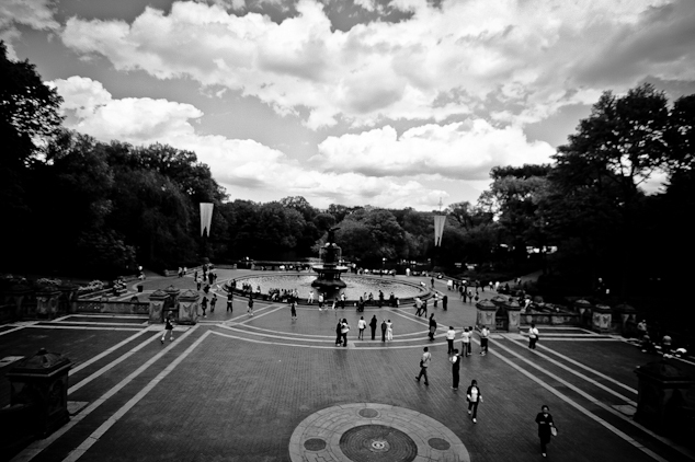 Black and white engagement proposal photos in Central Park, NYC