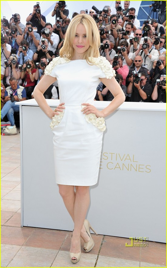 Rachel McAdams in white knee-length cap sleeve frock at Cannes 2011